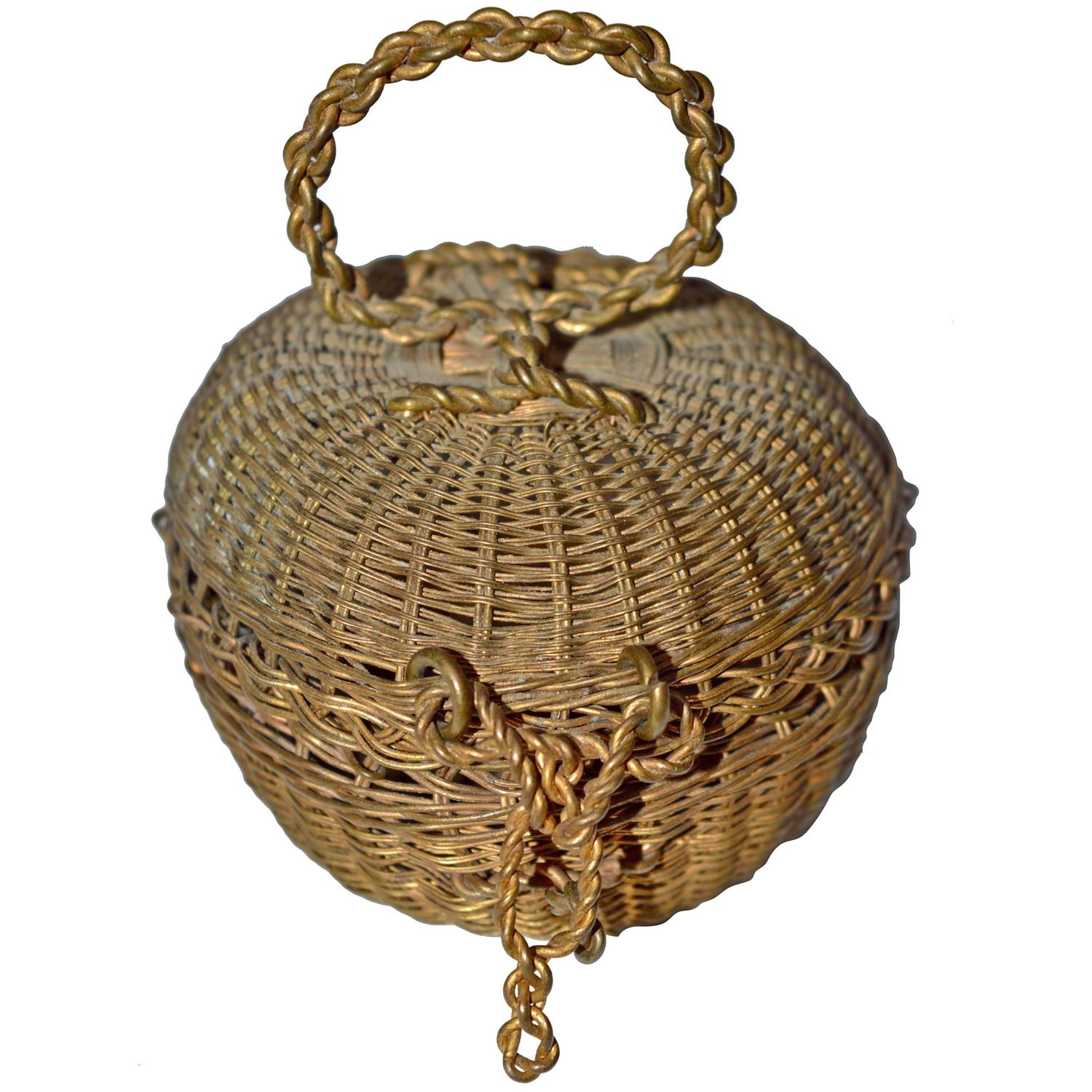 Basket Weaving Jewelry : Small finely woven th century french brass basket