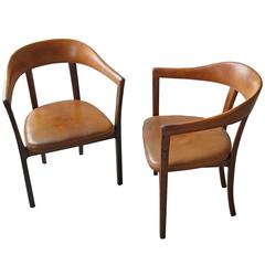 Ole Wanscher, Pair of Armchairs in Brazilian Rosewood and Nigerian Goatskin