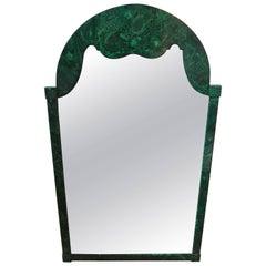 Vintage Italian Faux Malachite Lacquered Mirror, Circa. 1960