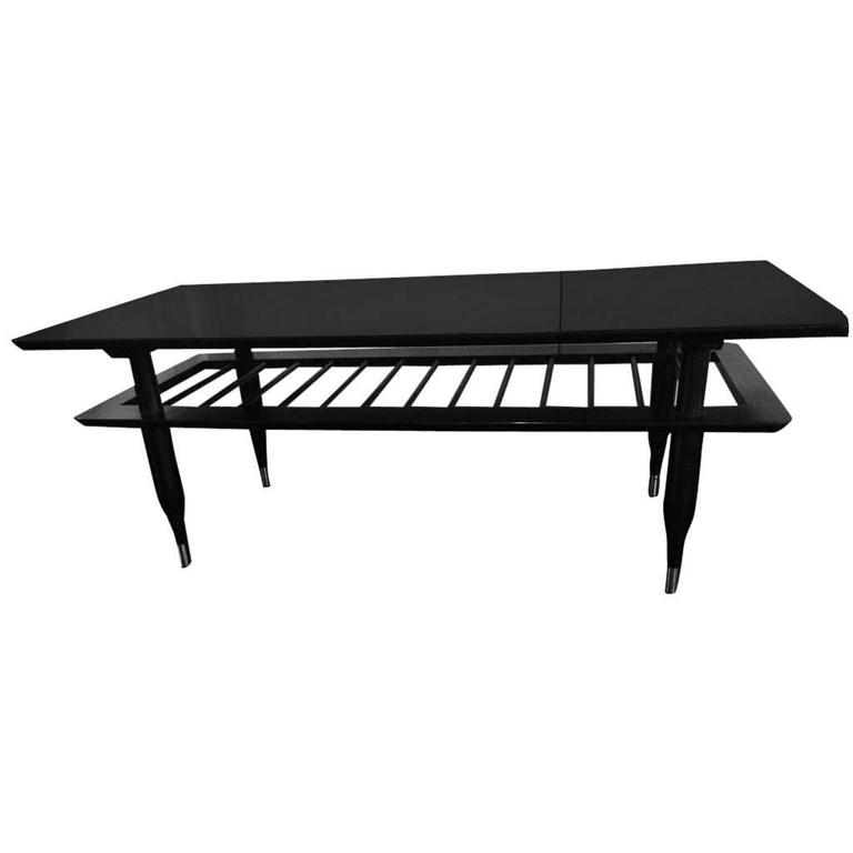 Mid-20th Century Ebonized Two-Tier Cocktail Table