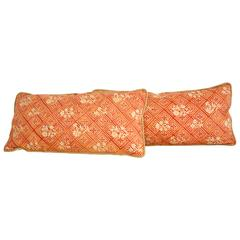 Pair of Vintage Fortuny Fabric Pillows