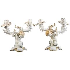 Pair of German Porcelain Two-Light Figural Candelabra, circa 1920