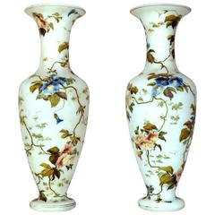 Pair of French White Opaline Vases with Floral Decorations