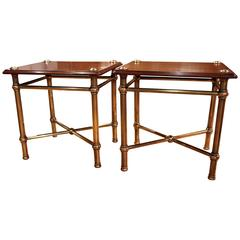 Pair of English Mahogany and Brass Trolleys