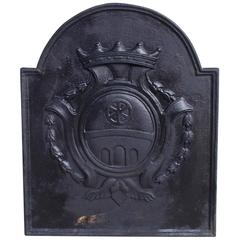 English Cast Iron Coat of Arms Fireback, Circa 1790
