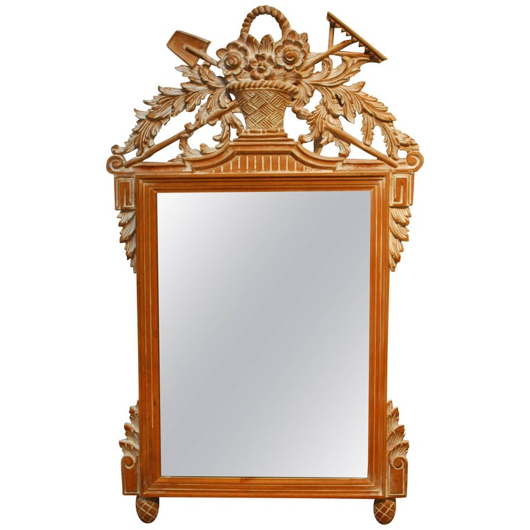 Louis XVI French Style Carved Wall Mirror For Sale