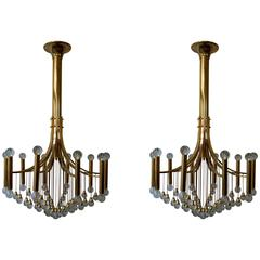 Pair of Italian Brass and Glass Chandeliers by Sciolari