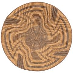 Vintage Southwestern Native American Indian Basketry Tray, Papago
