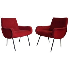 Pair of Marco Zanuso Armchairs, Original Edition