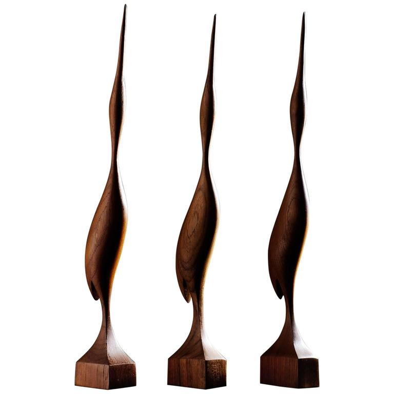Set of Three Elegant Birds in Solid Teak, Denmark, 1960s 1
