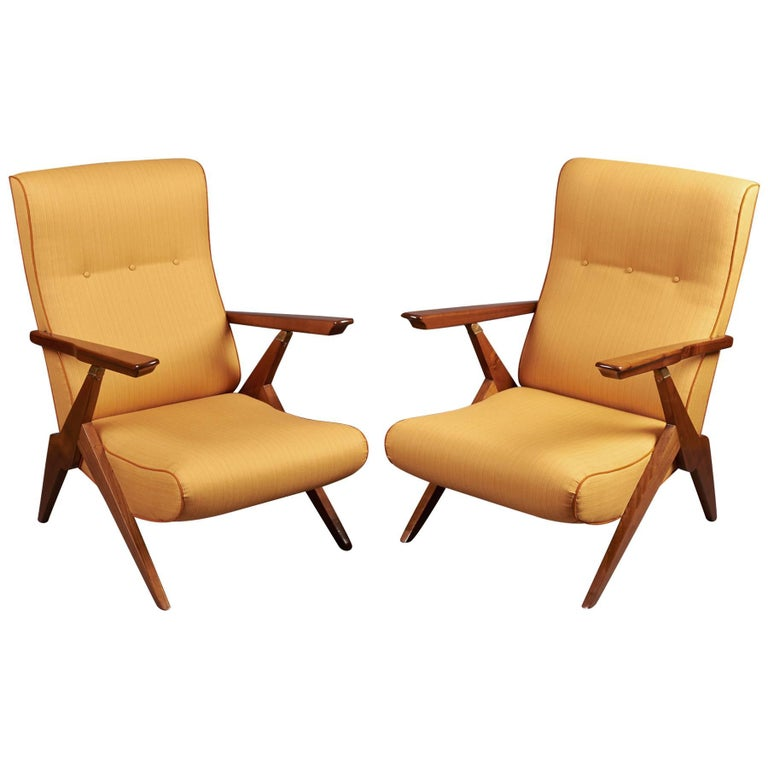 Pair of Reclining Armchairs, Italy 1950s For Sale