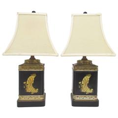 Pair of Lacquered Tea Canister Table Lamps by Frederick Cooper