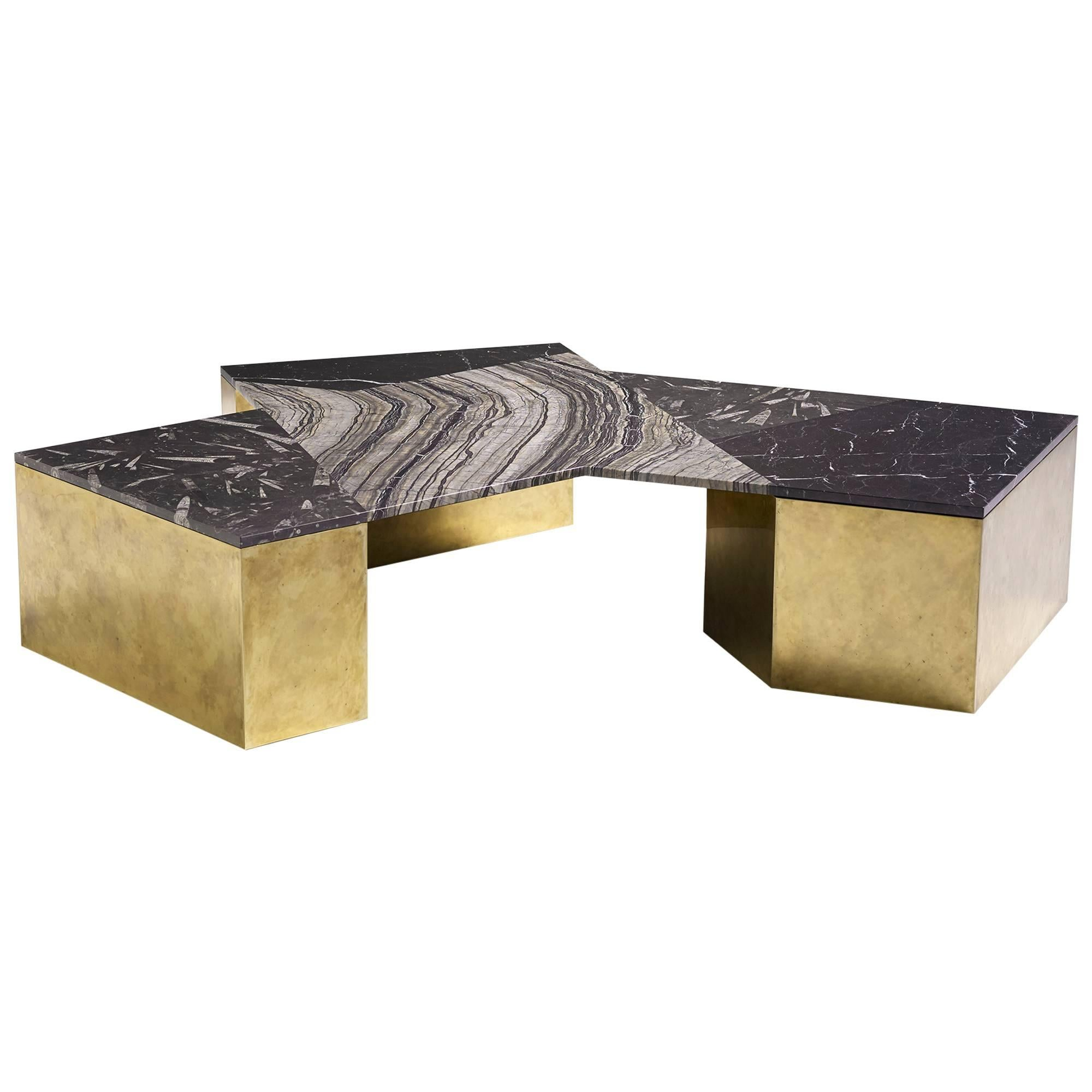 Brian Thoreen Black Mixed Marble and Brass Coffee Table
