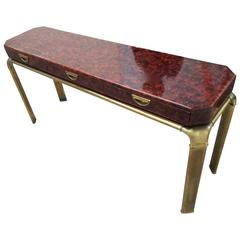 John Widdicomb Brass and Lacquer Console with Drawers
