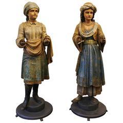 Polychrome Italian Carved Automaton Figures