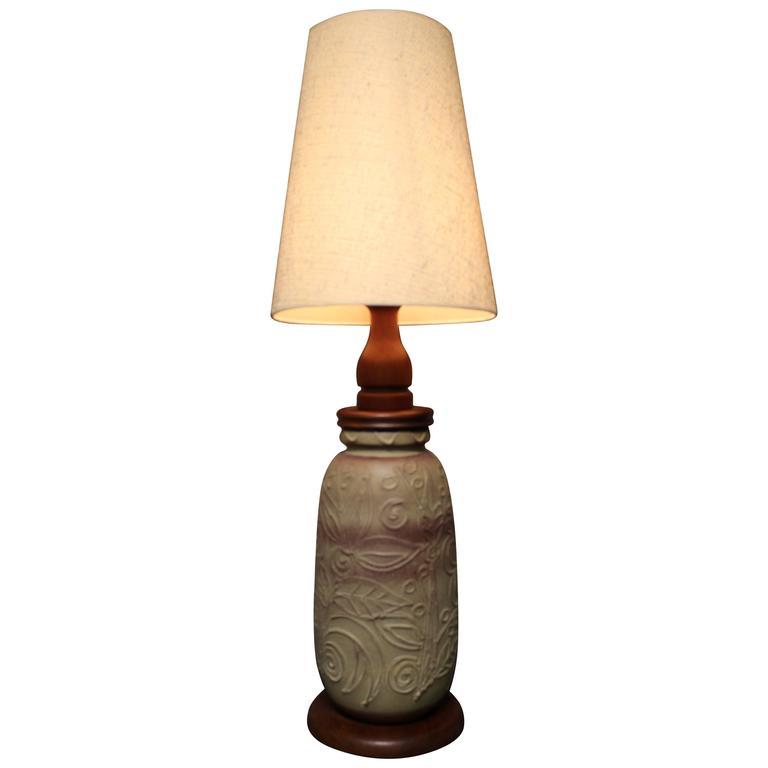 Teak Art Pottery Lamp