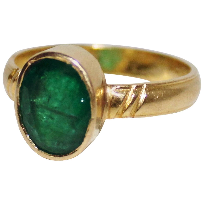 three carat emerald and 18k gold ring at 1stdibs