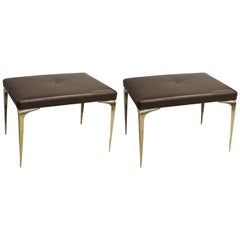 """Pair of """"Spear Tip"""" Brass Benches"""