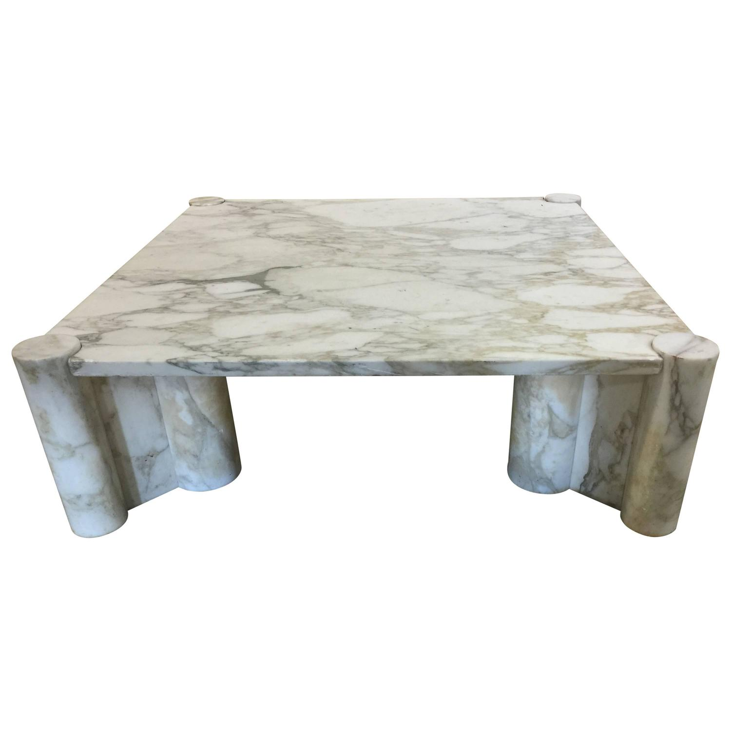 Exceptional Italian Carrara Marble Coffee Table By Gae Aulenti For