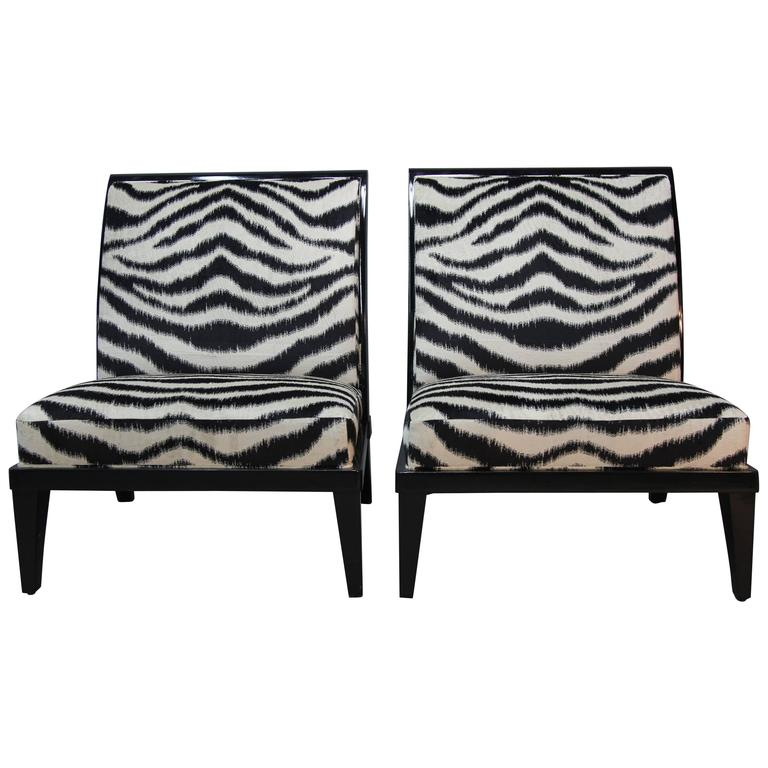 Pair of Holly Hunt Slipper Chairs in Amazing New Upholstery