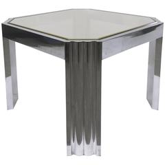 Side Table by Milo Baughman In Polished Stainless and Brass