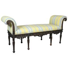 George III Style Carved Mahogany Bench