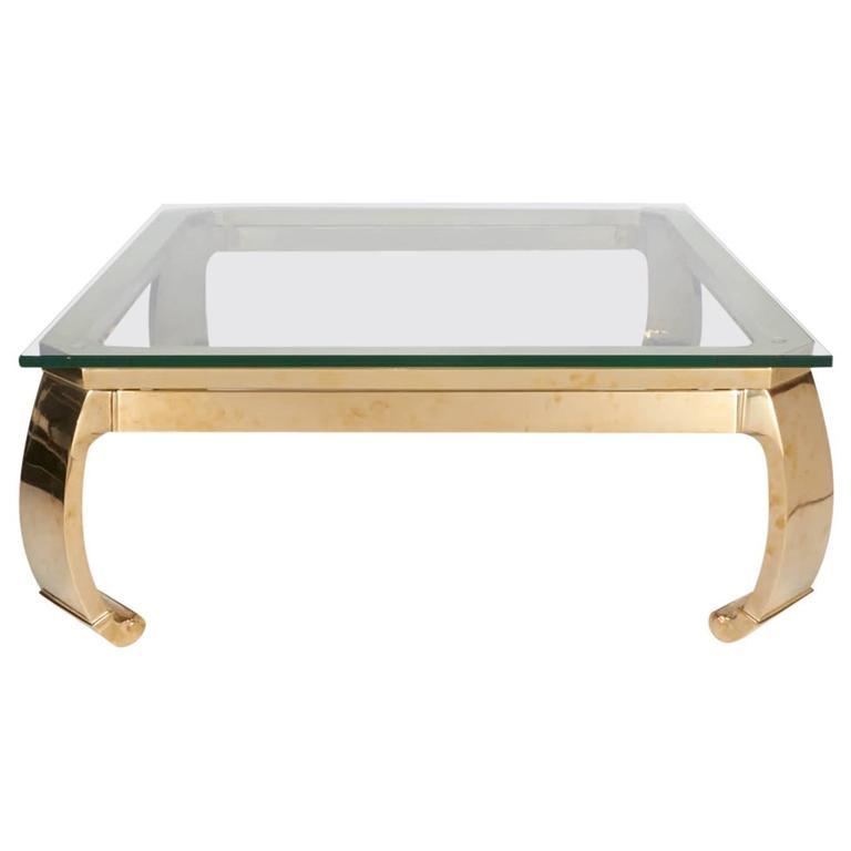 Polished Brass Coffee Table In The Manner Of Karl Springer