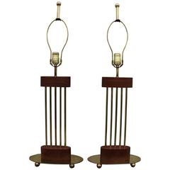 Mid-Century Modern Brass and Walnut Oval Table Lamps