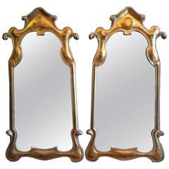 Pair of Fantasy Hollywood Regency Giltwood Mirrors