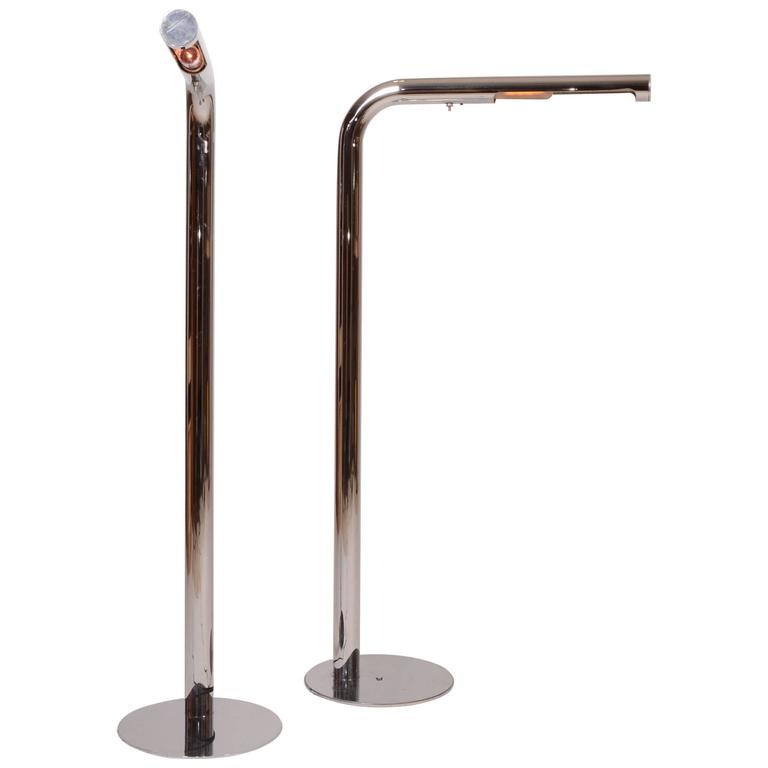 Pair of Polished Chrome Floor Lamp Designed by Robert Sonneman