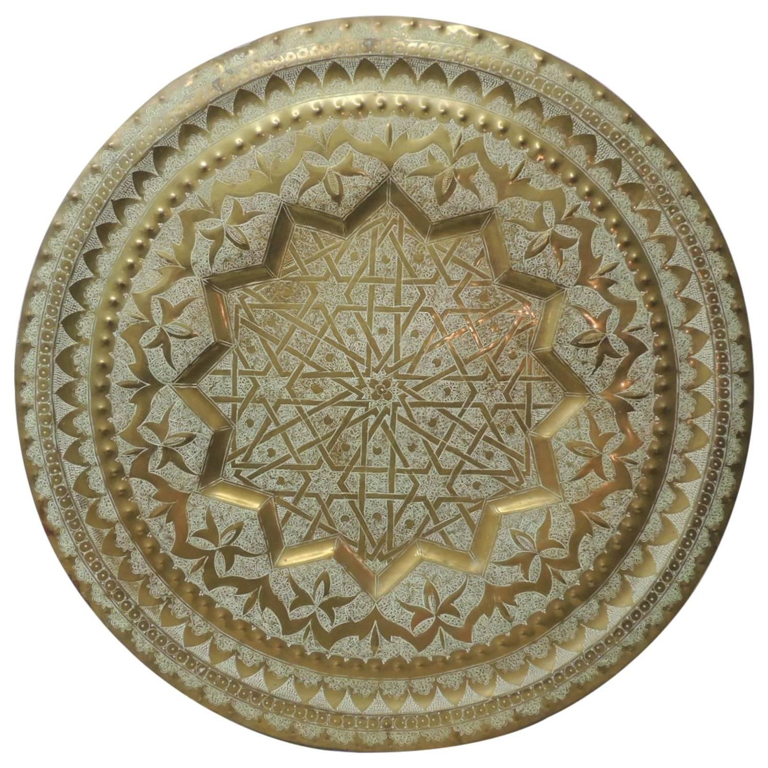 Hammered Coffee Table Tray: Large Round Hand-Hammered Moroccan Tray Coffee Table For