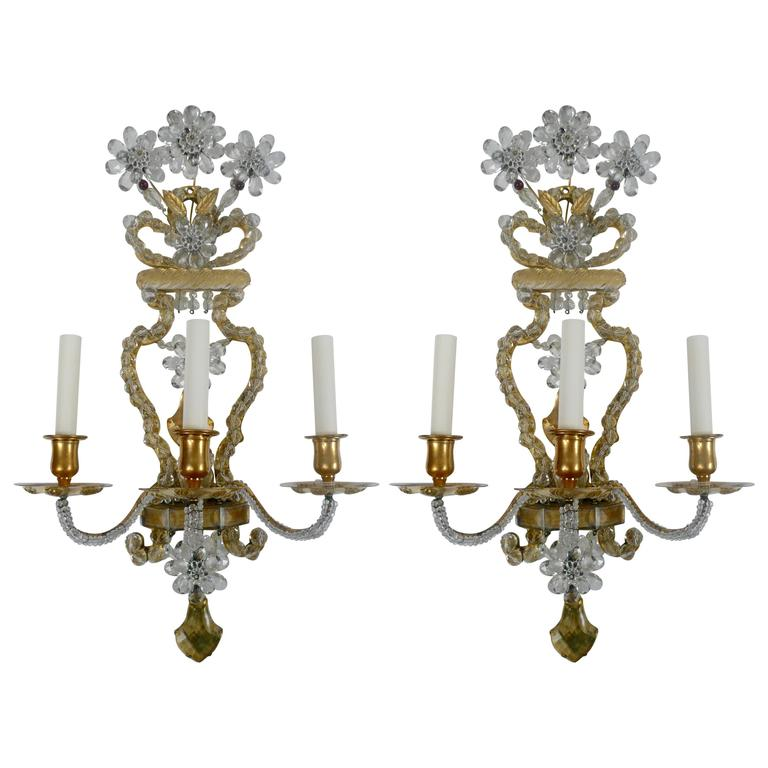 Pair of Early 20th Century, French Bronze and Crystal Sconces