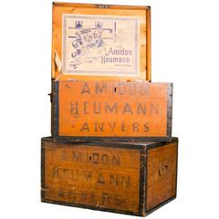 Antique Belgian Stenciled Wood Boxes with Hinged Lids