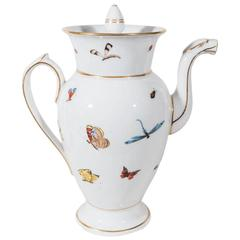 Antique Paris Porcelain Coffee Pot Painted with Butterflies and Other Insects