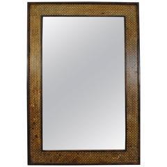 Large Spanish Mirror, Paper Decorated, Raised Moldings