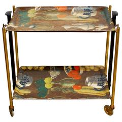 Mid-Century Modern Folding Tea Cart Trolley