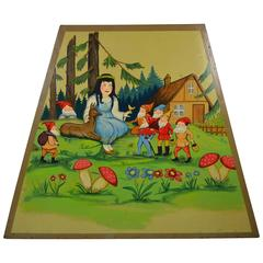 1950s Carousel Panel with Fairy Tale Snow White and the 7 Dwarfs