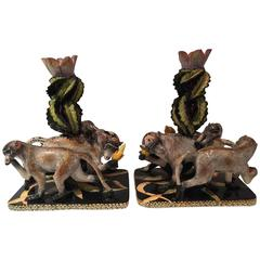 Handmade and One of a Kind Pair of Candlesticks by Ardmore from South Africa