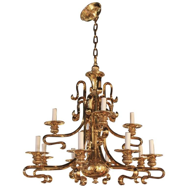 Chinoiserie Brass Chandelier at 1stdibs