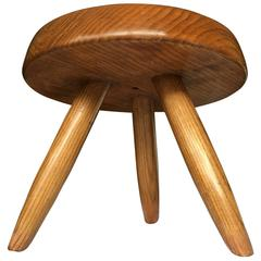 Charlotte Perriand 1950s Genuine Low Tripod Ash Tree Stool