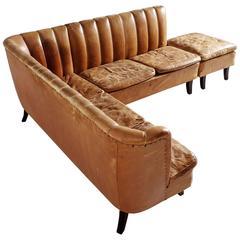 Cognac Leather Corner Sofa