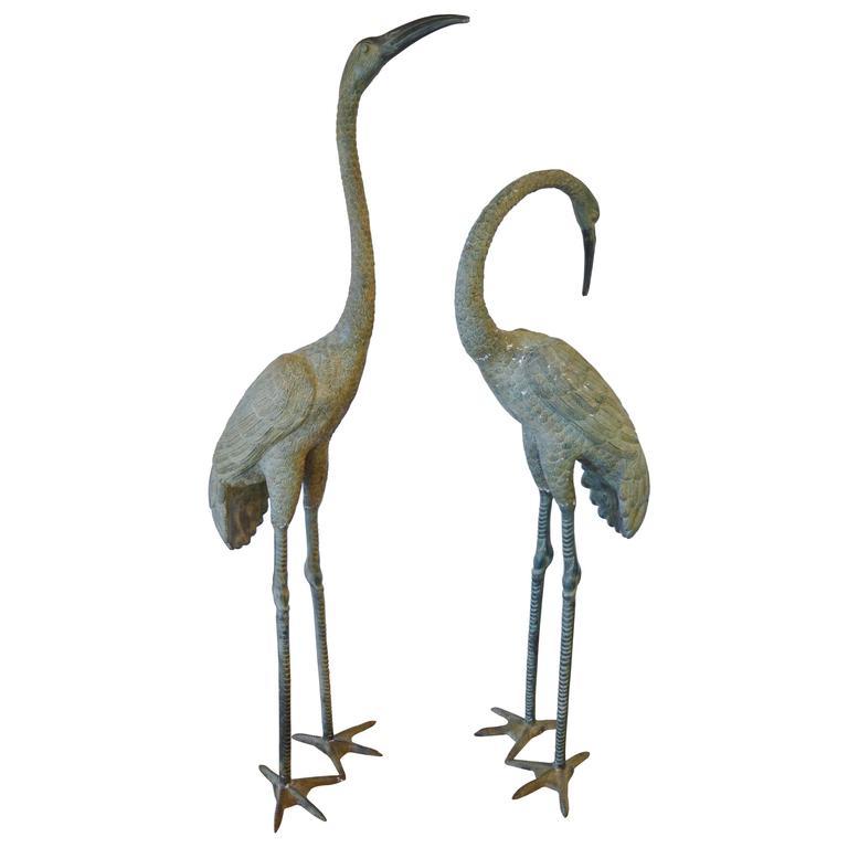 monumental bronze cranes at 1stdibs. Black Bedroom Furniture Sets. Home Design Ideas