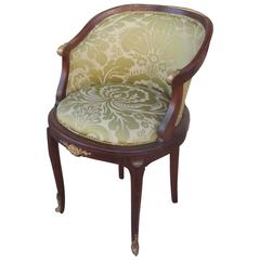 Antique French Walnut Accent Chair with Ormolu Mounts