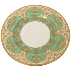 12 Elaborate Green and Raised Gold Encrusted Presentation or Dinner Plates