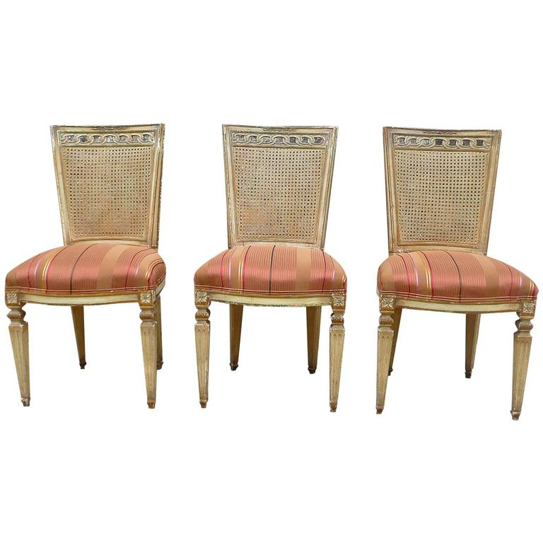 Caned Back Carved Mahogany Louis XVI Style Chairs
