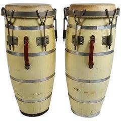 Pair Midcentury Cuban Conga Drums