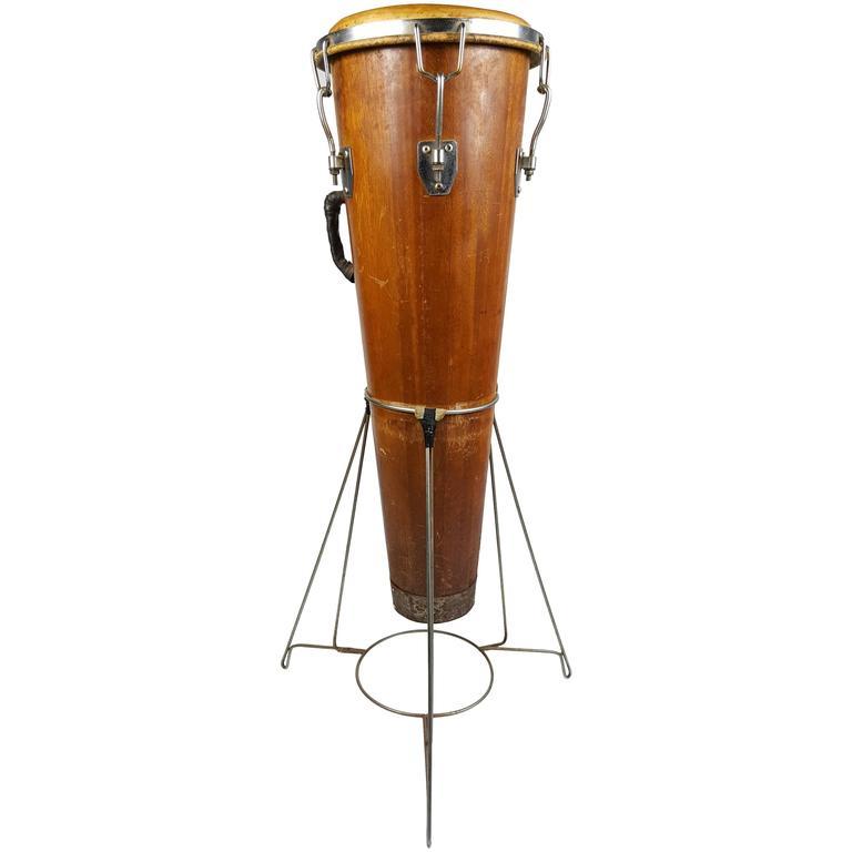 Rare Antique Gon Bop Conga Drum with Original Stand, Modernist Design For Sale