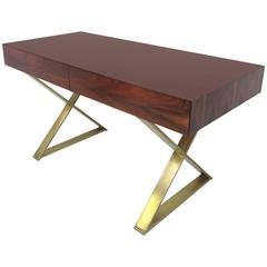 Rare X-Base Campaign Desk in Rosewood by Milo Baughman