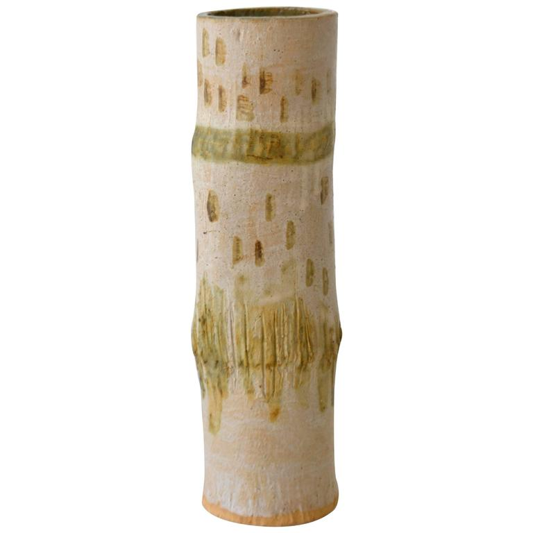 Midcentury Hand Thrown Ceramic Bamboo Form Vase For Sale