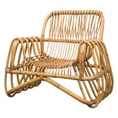 Bamboo Lounge Chair in the Style of Franco Albini